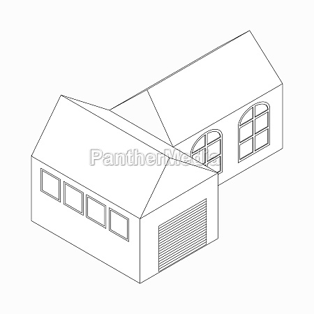 detached house icon isometric 3d style