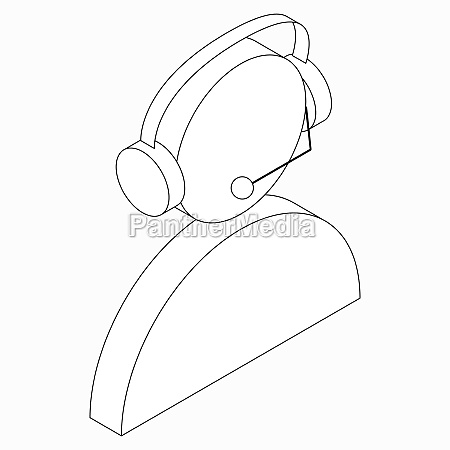 operator in headset icon isometric 3d