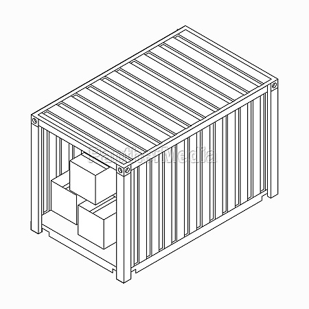 open container with boxes icon isometric