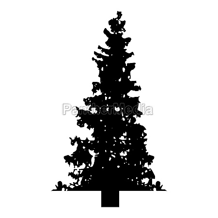 silhouette fir tree christmas coniferous spruce