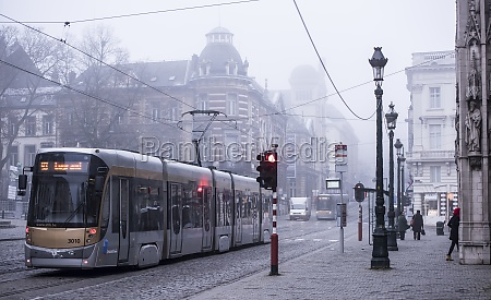trams moving on rails