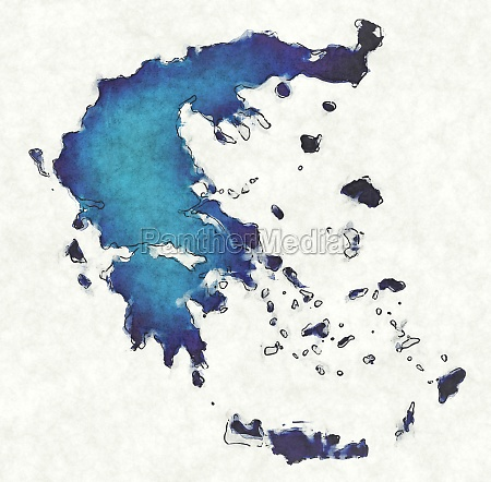 greece map with drawn lines and