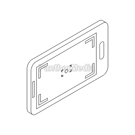 mobile camera icon isometric 3d style