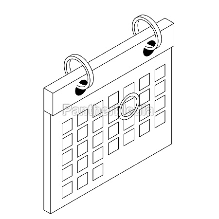 calendar with mark icon isometric 3d
