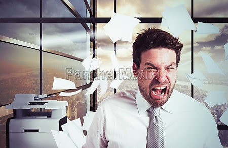 businessman overworked in overtime