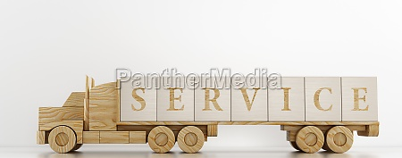 toy truck transports large wooden cubes