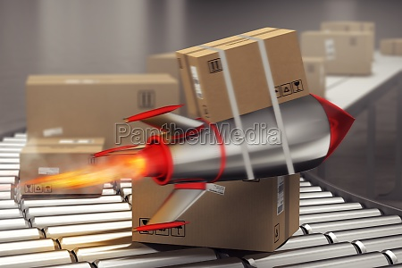 package starts to fly fast like