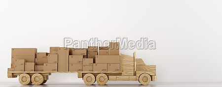 cardboard boxes package on a wooden