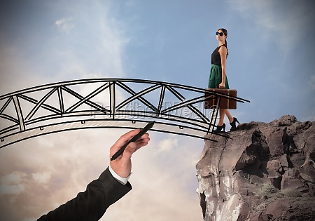 woman crosses a bridge
