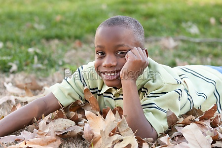 young african american boy playing in