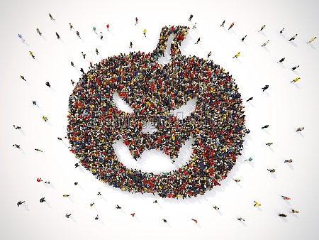 many people together in a pumpkin