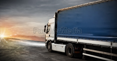 fast truck transport delivers packages