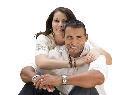 happy hispanic young couple isolated on