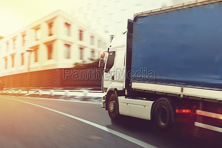 fast truck on a city road
