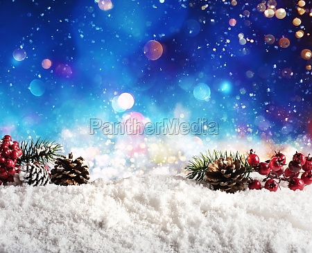 christmas element on the snow with