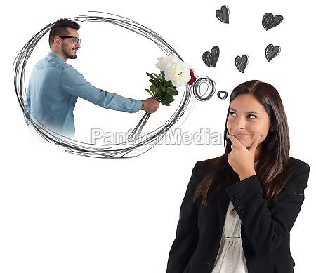 businesswoman thinking about boyfriend