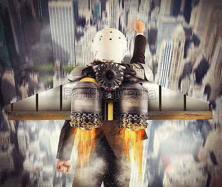 determined man flies high