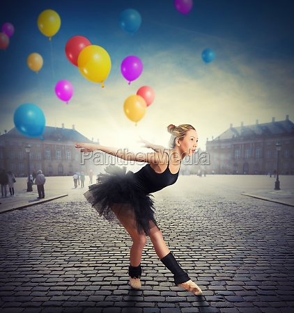 dancer with colorful balloons