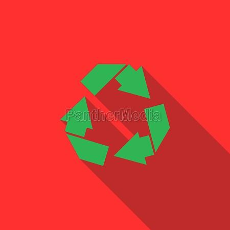 recycle simbol icon flat style