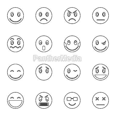 emoticon icons set thin line style