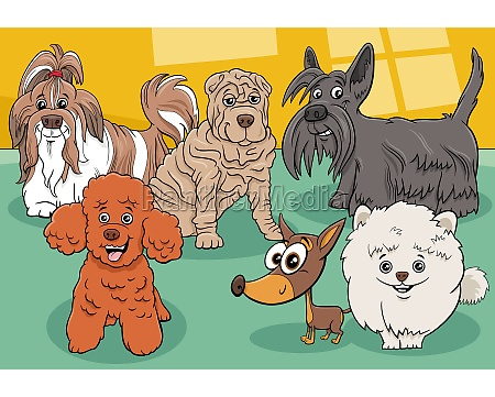 cartoon purebred dogs and puppies comic