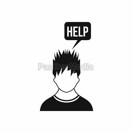 man needs help icon simple style