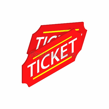 two red tickets icon isometric 3d