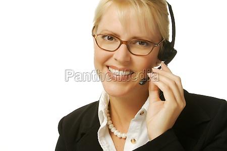 a beautiful friendly secretarytelephone operator