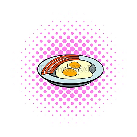 fried eggs and sausages icon comics