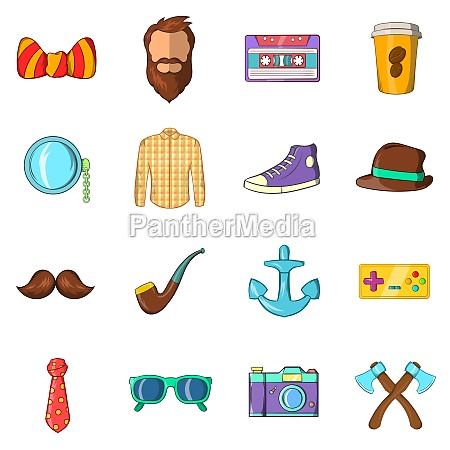 hipster icons set cartoon style