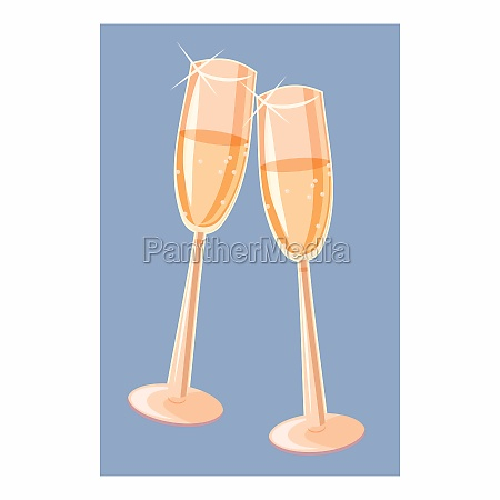 two champagne glasses icon cartoon style