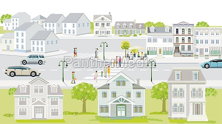 families and people on the sidewalk
