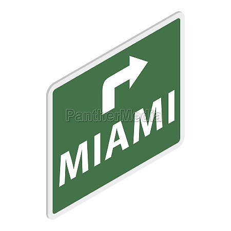 road sign with miami icon isometric