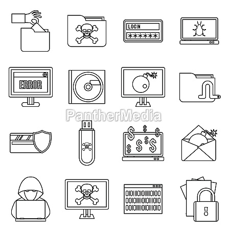 criminal activity icons set outline style
