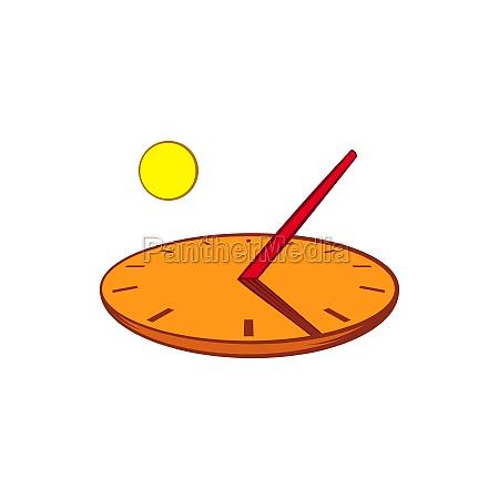 sundial icon in cartoon style