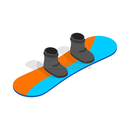 snowboard with boots icon isometric 3d