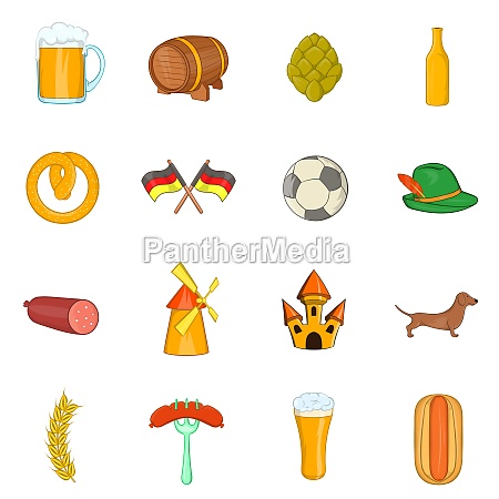 germany icons set cartoon style