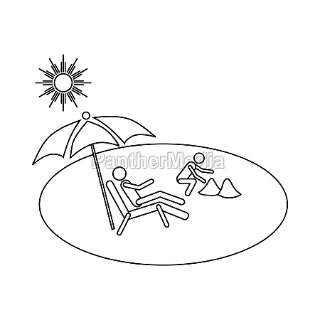 family vacation on beach icon outline