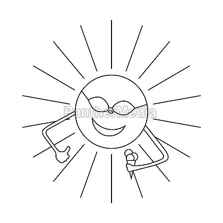sun with ice cream icon outline