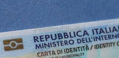 italian identity card in rome