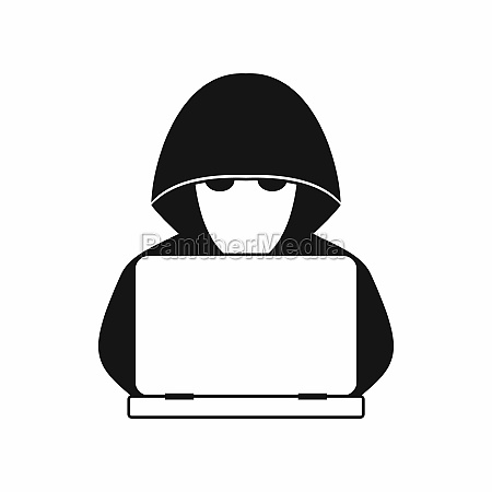 computer hacker with laptop icon simple