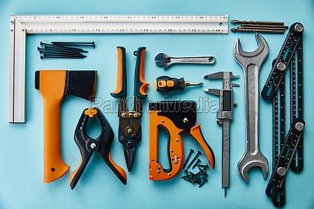 professional workshop instrument blue background