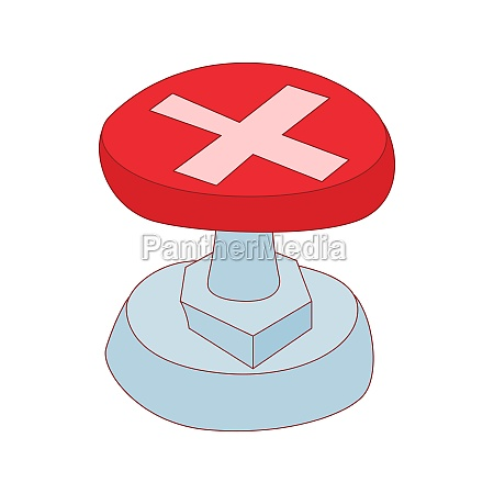 red button with cross sign icon