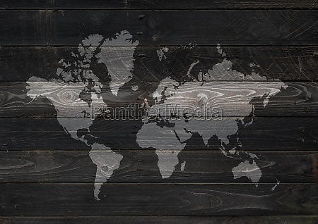 world map on black wooden wall