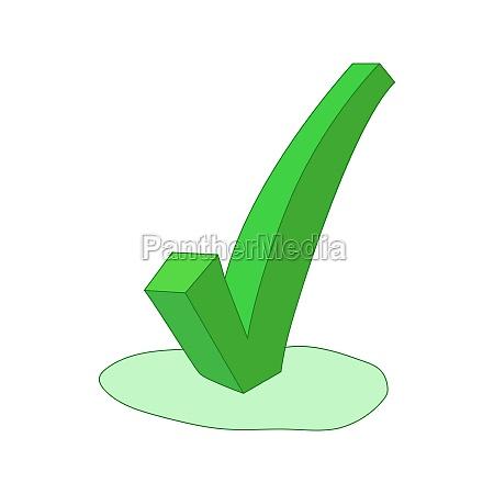 green check mark icon cartoon style
