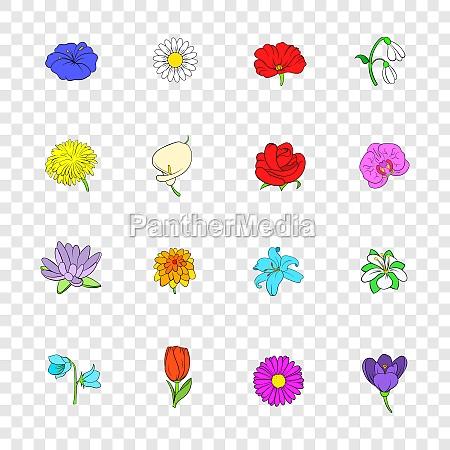 flower icons set pop art style