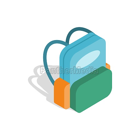 school backpack icon isometric 3d style