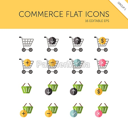 commerce shopping cart and basket group