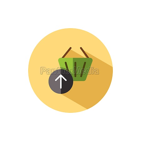 shopping basket up arrow flat icon