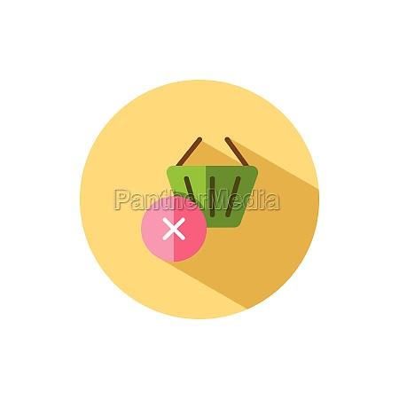shopping basket cross mark flat icon